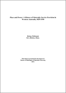 ... history of maternity service provision in Western Australia, 1829-1950